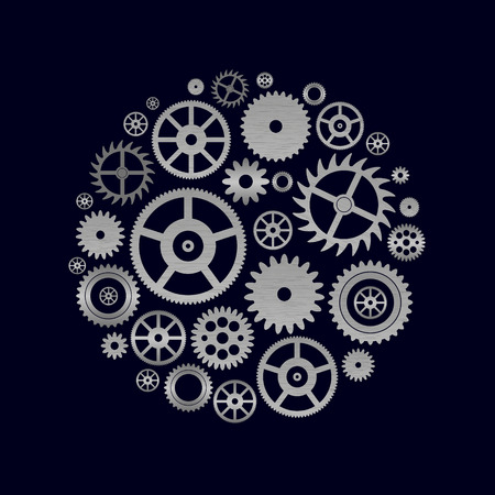 various cogwheels parts of watch movement in circle eps10 Illustration