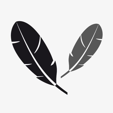 breeze: black and gray two feathers symbols eps10 Illustration