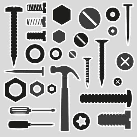 screw head: hardware screws and nails with tools stickers eps10 Illustration
