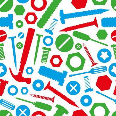 hammer head: hardware screws and nails with tools color seamless pattern eps10