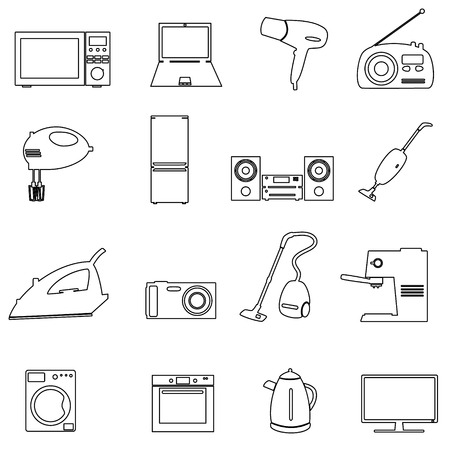 electrical appliances: home electrical appliances outline icons