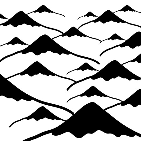alpinist: simple vector mountains black and white background