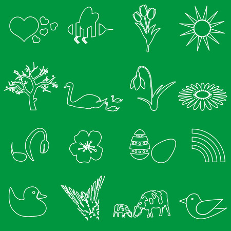 white spring outline vector icons set Vector