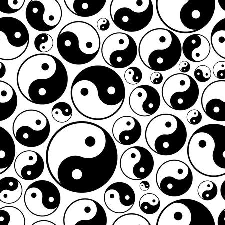 chinese philosophy: yin and yang symbols seamless black and white pattern