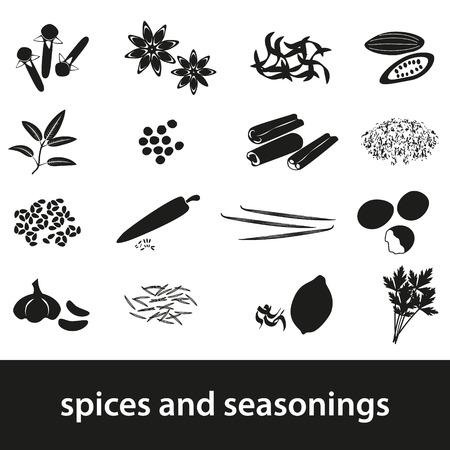 seasonings: spices and seasonings black icons set Illustration
