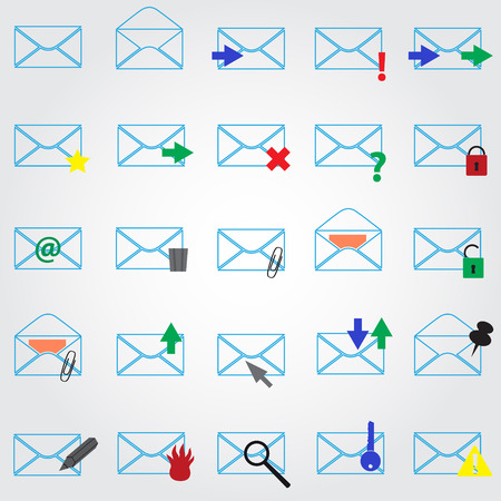 outline blue: computer mail simple outline blue icons