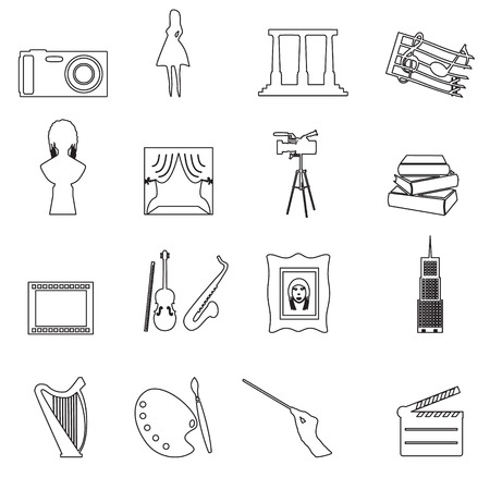 16 outline art vector icons set Vector