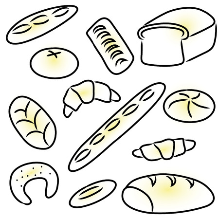 bakery products doodle sketch icons set Vector