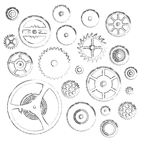 various cogwheels parts of watch movement doodle icons