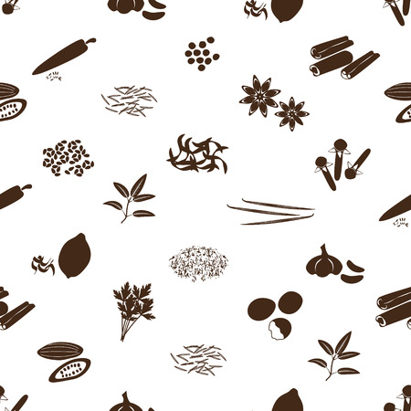 seasonings: spices and seasonings icons seamless pattern