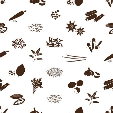 seasonings: spices and seasonings icons seamless pattern