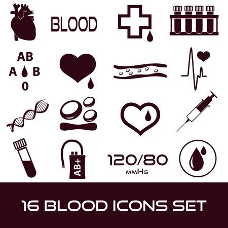 16 간단한 혈액 벡터 아이콘 설정 일러스트