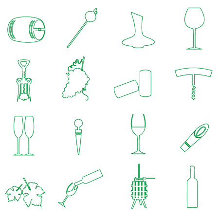 simple outline wine vector icons set  Vector