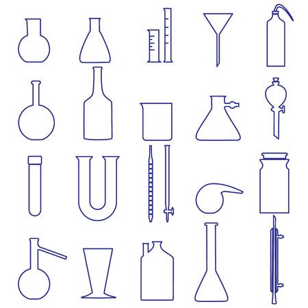 glassware: chemistry laboratory glassware simple outline icons