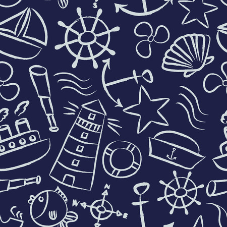 nautical sketch doodle vector icons seamless blue pattern Vector