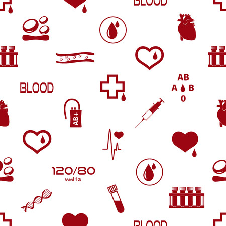 blood drops: simple blood vector icons seamless pattern Illustration