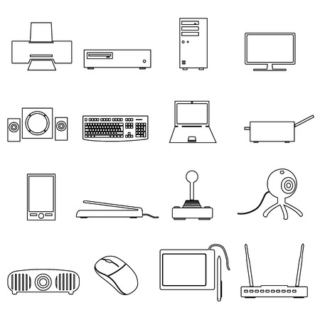 peripherals: computer peripherals black outline icons set eps10