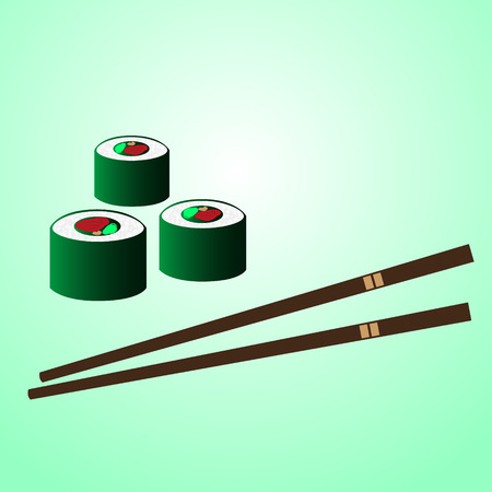 chopstick: japan sushi food with chopstick on the table eps10 Illustration