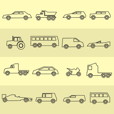 waggon: simple cars black outline icons collection eps10 Illustration