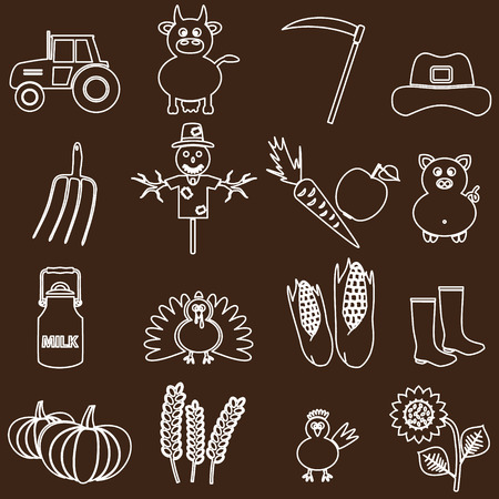 farm white and brown simple outline icons set eps10 Vector