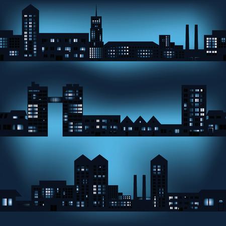 city lights: dark city landscapes in night with lights eps10 Illustration