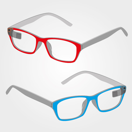 blue glasses: wearable electronics color smart glasses with display  eps10