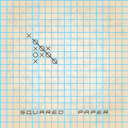 freetime: old squared paper background with noughts and crosses eps10 Illustration