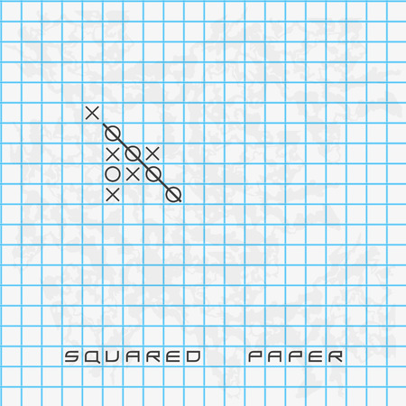freetime: old blue squared paper background with noughts and crosses eps10