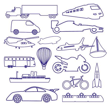 outline blue: transportation outline blue simple icons set eps10