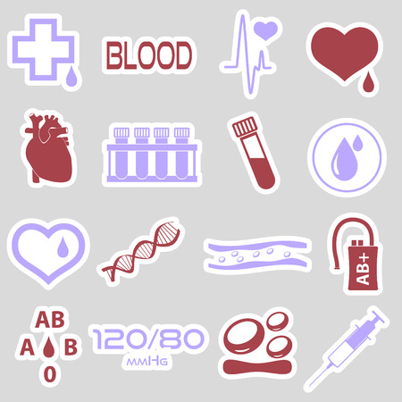 human cells: 16 simple blood vector stickers set eps10 Illustration