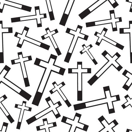 zwart en wit religie kruis naadloos patroon eps10 Stock Illustratie
