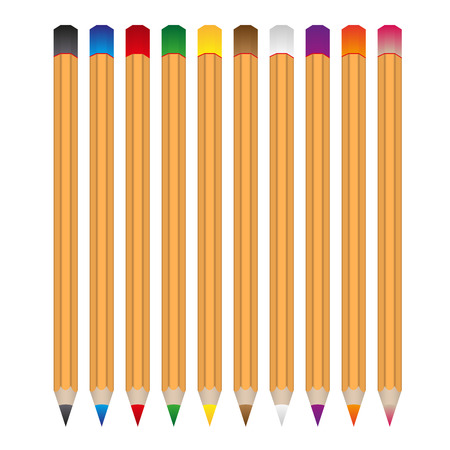secretarial: set of various color wooden vector crayons eps10 Illustration