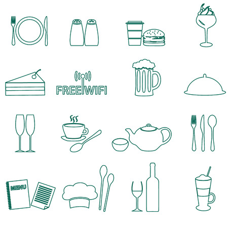 salt free: restaurant and pub outline icons set eps10