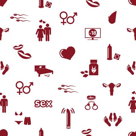 섹스 테마 간단한 빨간색 아이콘 원활한 패턴 eps10