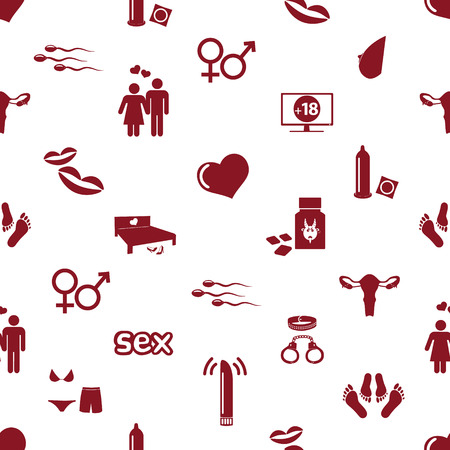 women breast: sex theme simple red icons seamless pattern eps10