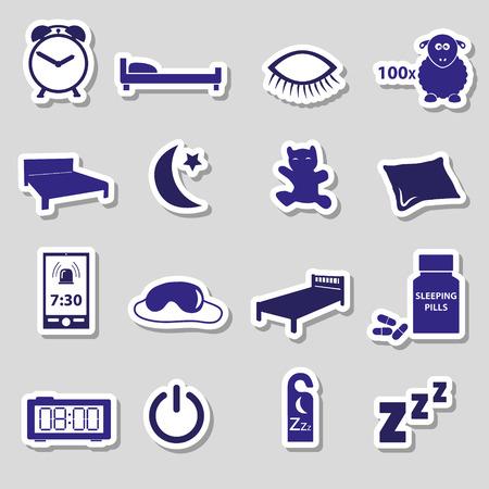 sleeping pills: sleeping time blue stickers symbols set eps10