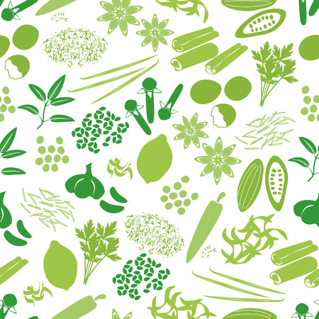 seasonings: spices and seasonings icons color seamless pattern eps10