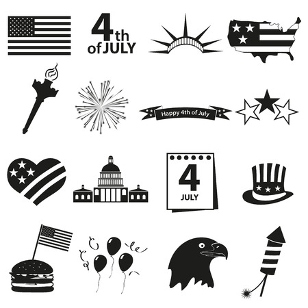 american independence day celebration icons set eps10