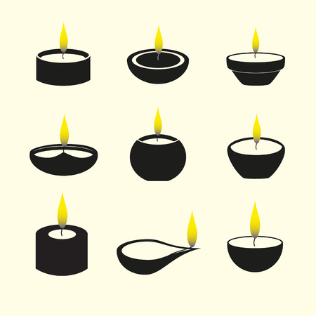 hindu temple: diwali candles with flame icons set eps10