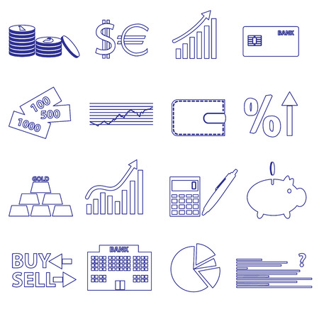 valorization: financial and money blue outline icons set eps10
