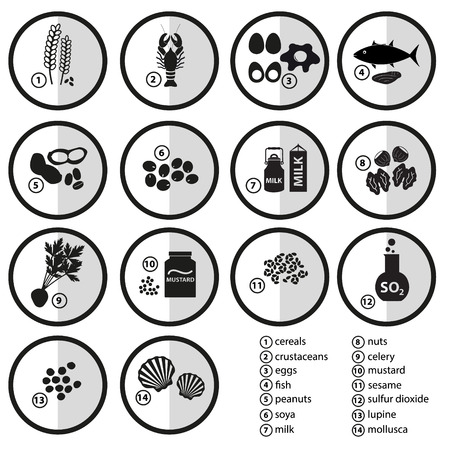 grayscale set of typical food alergens for restaurants eps10 Vetores
