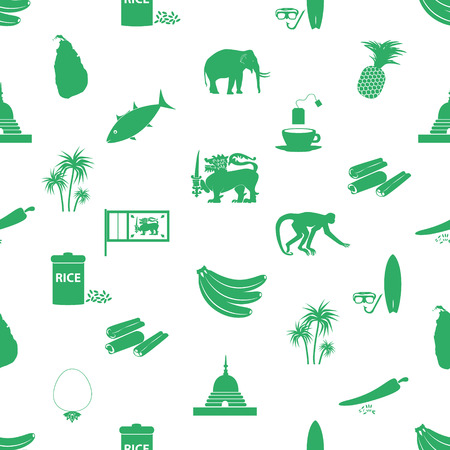 srilanka: Sri-lanka country symbols seamless green pattern eps10 Illustration