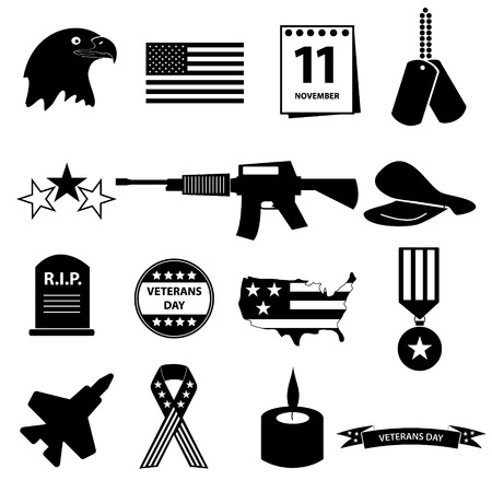 veterans: american veterans day celebration icons set eps10