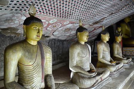reincarnation: buddhas inside buddha rock temple in Dambulla Sri Lanka