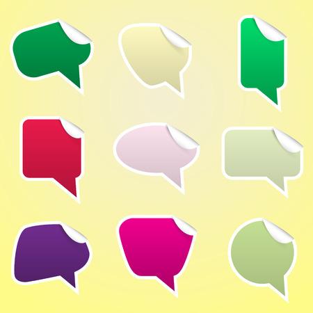 peeling corner: simple color speak bubbles with symbols stickers