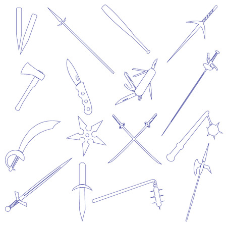 cold steel: cold steel weapons simple outline icons