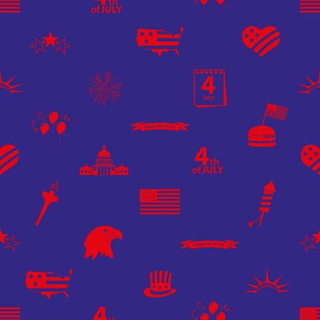 american independence day celebration icons seamless pattern