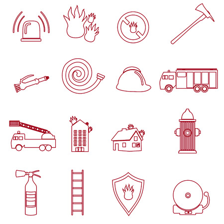 fire brigade: fire brigade outline red icons set
