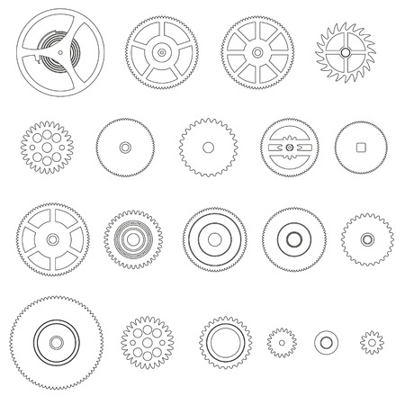 watch movement: various outline cogwheels parts of watch movement