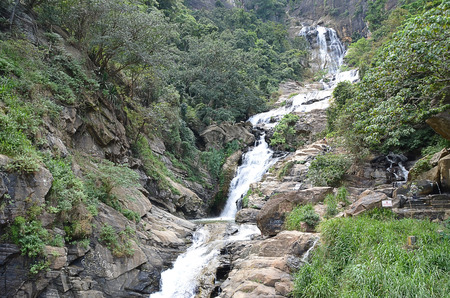 big scenery: big waterfall on sri-lanka natural scenery photography